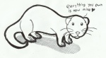 :3 <3 ambiguous_gender black_and_white claws cute dialogue english_text feral ferret full-length_portrait hi_res line_art looking_at_viewer mammal marker_(artwork) mixed_media monochrome mustelid pen_(artwork) pet portrait quadruped rarewarerat round_ears side_view simple_background solo standing territorial text the_truth toe_claws traditional_media_(artwork) whiskers white_background white_claws