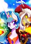 2015 christmas clothing crown discord_(mlp) draconequus equine fangs female friendship_is_magic gift gold_(metal) hat hi_res holidays horn jewelry male mammal my_little_pony necklace princess_celestia_(mlp) rariedash santa_hat snow snowflake sparkles winged_unicorn wings  Rating: Safe Score: 6 User: 2DUK Date: December 09, 2015