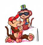 anthro ball_fondling ball_grab ball_suck balls baseball_cap blush bottomless bow_tie clothed clothing diddy_kong digital_media_(artwork) donkey_kong_(series) duo erection eyes_closed eyewear fondling hat humanoid_penis male male/male mammal masturbation monkey motion_lines nintendo oral penile_masturbation penis prehensile_feet primate quiz_monkey redemption3445 retracted_foreskin sex shirt simple_background sitting spread_legs spreading sucking sunglasses tank_top tongue tongue_out top_hat uncut vest video_games white_background yu-gi-oh  Rating: Explicit Score: 12 User: Circeus Date: March 27, 2016