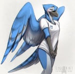 2015 anthro avian bird bj_(character) blue_feathers blue_jay blush bottomless clothed clothing covering covering_crotch feathers female half-closed_eyes half-dressed looking_at_viewer rotarr shirt shirt_pull simple_background smile solo standing talons two_tone_feathers white_background white_feathers wings  Rating: Questionable Score: 53 User: TonyLemur Date: November 23, 2015