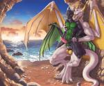 2015 anal anal_penetration anthro balls beach big_dom_small_sub cave claws cradling cum digitigrade dragon duo green_eyes horn larger_male male male/male naughty_face nude open_mouth penetration penis rakisha scalie sea seaside size_difference smaller_male sunset vein water wings  Rating: Explicit Score: 40 User: h4x0r Date: July 20, 2015