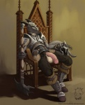 abstract_background anthro argonian armor axe balls big_balls boots chair clothing detailed dragon erection flaccid grey_body hairless helmet horn humanoid_penis looking_at_viewer mace male metal omari open_pants pants penis penis_through_fly plain_background poking_out scalie sitting solo spread_legs spreading the_elder_scrolls the_elder_scrolls_v:_skyrim throne video_games weapon yellow_eyes   Rating: Explicit  Score: 60  User: reshiram_  Date: April 08, 2012