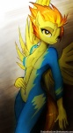 """anthro anthrofied bodysuit breasts clothing equine erect_nipples female friendship_is_magic hair looking_at_viewer mammal multicolored_hair my_little_pony nipples pegasus skinsuit solo spitfire_(mlp) standing suggestive tight_clothing two_tone_hair undressing uniform wings wonderbolts_(mlp) yellow_eyes zero-sum  Rating: Questionable Score: 37 User: 2DUK Date: October 21, 2012"""""""