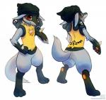 anthro blush canine digital_media_(artwork) gioven happy haychel jackal looking_back lucario male mammal nintendo pokémon pose skull smile solo standing tattoo video_games   Rating: Safe  Score: 18  User: Toothless-chan  Date: December 19, 2013