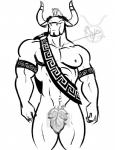 2014 anthro bgn black_and_white bovine cattle censored convenient covering digital_drawing_(artwork) digital_media_(artwork) fig_leaf hair horn male mammal mohawk monochrome muscular nude pecs solo standing taurus watermark  Rating: Questionable Score: 3 User: Crazygamrr13 Date: August 25, 2014