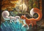 2015 ambiguous_gender arctic_fox blue_eyes canine collaboration crystals cute duo feral forest fox foxamoore green_eyes mammal outside pond silverfox5213 tree water  Rating: Safe Score: 10 User: TonyLemur Date: November 16, 2015