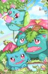 ambiguous_gender arthropod avian bird bulbasaur caterpie caterpillar chatot cloud eating flower food geegeet grass group insect ivysaur mushroom nintendo open_mouth outside parrot plant pokémon rainbow red_eyes sky teeth venusaur video_games water weedle   Rating: Safe  Score: 5  User: DeltaFlame  Date: February 15, 2015