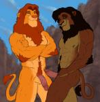 abs anthro anthrofied balls biceps brown_fur disney duo edit erection feline fur humanoid_penis koutou kovu lion looking_at_viewer male male/male mammal mane muscular muscular_male nipples nude orange_fur outside pecs penis scar simba smile standing tan_fur the_lion_king vein  Rating: Explicit Score: 8 User: Jekjekje Date: February 08, 2016