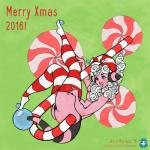 2016 alternate_species animal_humanoid anna_matronic blue_eyes blush breasts butt candy candy_cane christmas clothing english_text female flaaffy food green_background hair hat holidays humanoid humanoidized legwear long_hair mole_(marking) mostly_nude nintendo pink_skin pokémon side_view signature simple_background smile solo stripes text video_games white_hair