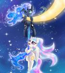 2015 absurd_res blue_hair chibi cutie_mark duo equine female feral friendship_is_magic hair hi_res horn long_hair lyra-senpai mammal moon multicolored_hair my_little_pony night outside princess_celestia_(mlp) princess_luna_(mlp) sibling sisters star winged_unicorn wings   Rating: Safe  Score: 10  User: Somepony  Date: March 06, 2015
