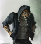 2015 abs anthro belt black_nose clothing feline fur hoodie jacket male mammal markings muscles open_shirt pants pecs pose shirt sketch solo standing stigmata stripes tiger toned whiskers   Rating: Safe  Score: 11  User: deadmen2  Date: February 19, 2015