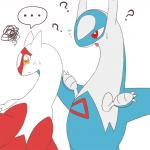 ... 3_fingers ? ambiguous_gender blue_feathers dragon duo eruku feathers feral latias latios legendary_pokémon nintendo open_mouth pokémon red_eyes red_feathers simple_background sweat tongue video_games white_background white_feathers yellow_eyes  Rating: Safe Score: 2 User: DeltaFlame Date: April 22, 2016