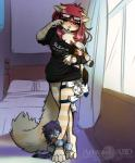 2016 abluedeer anthro bed bottomless breasts cat cleavage clothed clothing eyewear feline female glasses hair half-closed_eyes mammal moccha_(abluedeer) moon_lace one_eye_closed plushie red_hair soloRating: SafeScore: 17User: GooglipodDate: March 24, 2018