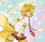 2_tails anthro backsack balls black_nose blonde_hair blush canine clothed clothing collar ear_tuft fur girly hair hair_over_eye inner_ear_fluff looking_at_viewer looking_back male mammal multiple_tails necktie open_mouth panties red_eyes scarf sebafox shota skirt solo star tongue tuft underwear yellow_fur young  Rating: Explicit Score: 11 User: Dudeman147 Date: June 02, 2015