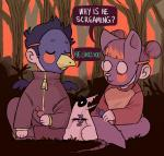2017 :3 alternate_species animated beak blush_sticker branch candy candy_wrapper clothing cute daww eyebrows eyes_closed food forest germ_(nitw) grass hair human human_only humanized invalid_tag jacket mae_(nitw) male mammal marsupial mask night_in_the_woods opossum red_hair shirt sitting string sunset threehairs_(artist) trash_king_rabies_(nitw) tree wings wrapper