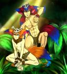 binsopu bodypaint clothed clothing duo gnar_(lol) hair hi_res league_of_legends male multicolored_hair muscular square_crossover tribal video_games  Rating: Questionable Score: -4 User: israfell Date: April 20, 2016