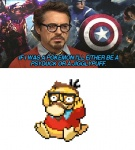 3_toes anime avian barefoot beard beige_skin bird black_eyes black_hair brown_hair captain captain_america clothed clothing crossover cute dialogue duck eyewear facial_hair feathers glasses hair half-dressed hand_on_head human humor japanese looking_away male mammal marvel mask mustache nintendo pixel plain_background pokémon psyduck raised_arm robert_downey_jr shield shirt short_hair sitting squint star stars_and_stripes superhero text toes united_states_of_america unknown_artist video_games white_background white_eyes   Rating: Safe  Score: 8  User: WiiFitTrainer  Date: June 30, 2013