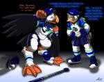 2014 anthro avian beak bird catmonkshiro clothing duck helmet hockey hockey_player ice ice_skates jersey male pheagle puffin skates torn_clothing transformation   Rating: Safe  Score: 2  User: PheagleAdler  Date: November 28, 2014