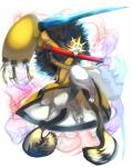 absurd_res angry blazblue bottomless cat claws clothed clothing demon feet feline hair hi_res jubei male mammal melee_weapon paws pose samurai simple_background sword video_games weapon