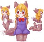 blonde_hair blush canine cub cute female hair kemono loli long_hair mammal nude red_eyes schoolgirl solo wahitouppe wolf young  Rating: Questionable Score: 6 User: Komaru Date: June 06, 2015