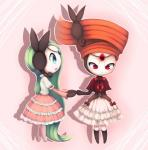 blue_eyes clothing dress duo female green_hair hair humanoid joltik_(artist) legendary_pokémon meloetta nintendo pokémon red_eyes red_hair video_games  Rating: Safe Score: 7 User: Juni221 Date: September 16, 2013