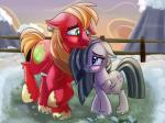 2015 absurd_res big_macintosh_(mlp) blonde_hair blush cutie_mark duo equine farm female feral friendship_is_magic green_eyes grey_hair hair hi_res horse male mammal marble_pie_(mlp) my_little_pony pony purple_eyes smile thediscorded  Rating: Safe Score: 14 User: 2DUK Date: October 30, 2015
