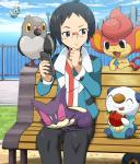 apple bench black_eyes black_hair cheren ducklett eyewear feral food fruit glasses group hair human human_focus mammal nintendo on_bench oshawott pansear phone pidove pokemoa pokémon purrloin roggenrola sitting video_games