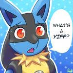 1:1 2016 ambiguous_gender anthro black_fur black_hair blue_background blue_fur bust_portrait canid canine confusion cute_fangs dialogue english_text eyebrows front_view fur gradient_background hair lol_comments long_hair looking_at_viewer lucario mammal multicolored_fur nervous nintendo open_mouth pattern_background pink_tongue pokémon pokémon_(species) portrait reaction_image red_eyes simple_background solo speech_bubble sweat tan_belly tan_fur tarka_(artist) teeth text tongue video_games