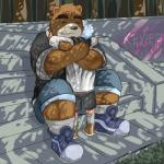anthro bear brown_fur child clothed clothing cute duo embrace eyes_closed faceless_male family father father_and_son fur grass grizzly_bear happy hug human kevinskylet111999 larger_male male mammal muscular outside parent shirt shorts sitting size_difference smaller_male smile son stairs standing tree young  Rating: Safe Score: 5 User: kevinskylet111999 Date: July 31, 2015