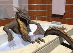 3d_(artwork) anthro bath bathroom bathtub brown_scales cgi claws digital_media_(artwork) dragon erection inside looking_at_viewer male millennium_dragon mirror penis scales scalie sharp_claws solo toe_claws water wooky  Rating: Explicit Score: 10 User: syrmat Date: November 01, 2015