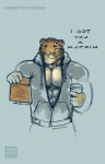 2015 abs anthro benji_(character) beverage clothing clouded_leopard coffee dialogue ear_piercing english_text feline food green_eyes hoodie mainlion male mammal muffin muscular muscular_male offscreen_character one_eye_closed pecs piercing text winkRating: SafeScore: 1User: AshramDate: June 16, 2017
