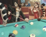 2007 anthro bar billiards breasts canine cleavage clothed clothing distracted drink duo feline female fennec fox inside jacket jock kacey leopard male mammal pool_table tiger  Rating: Safe Score: 4 User: Kald Date: February 19, 2010