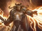 anthro armor belt clothed clothing horn howard_lyon lighting magic magic_the_gathering magic_user male minotaur official_art reaching restricted_palette soldier solo sword weapon wizards_of_the_coast   Rating: Safe  Score: 1  User: Circeus  Date: January 03, 2015