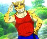 "anthro big_muscles blue_eyes clothing feline male mammal morenatsu muscles smile solo tiger torahiko_ooshima  Rating: Safe Score: 0 User: Kod Date: June 25, 2015"""