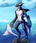 2020 absurd_res anthro blue_eyes cetacean clothing cloud delphinoid digital_media_(artwork) digital_painting_(artwork) hi_res huge_filesize hybrid lunarthunderstorm male mammal marine oceanic_dolphin open_mouth orca sea shaded smile solo standing teeth toothed_whale underwear vicar water