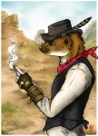 2013 bandanna brown_eyes brown_fur brown_nose cigarette claws clothed clothing cowboy desert ermine feather fur hat male outside side_view sky solo standing steampunk tanuki_(artist) whiskers   Rating: Safe  Score: 2  User: tony311  Date: June 13, 2013