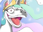 4:3 ambiguous_form blue_hair crown equine female friendship_is_magic hair headshot_portrait horn horse humor insane laugh mammal my_little_pony open_mouth pink_eyes portrait princess princess_celestia_(mlp) reaction_image royalty solo sparkle sunibee teeth tongue unicorn white_body wide_eyed