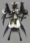 anthro baphomet breasts caprine clothing crescent_moon deity feathered_wings feathers female goat hooves horn jewelry magic mammal moon multi_eye piercing small_breasts solo star wings 畑塚_横_(artist)