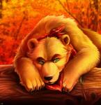 autumn bandanna bear black_nose brown_fur chibity detailed_background feral front_view fur green_eyes hi_res log looking_at_viewer male mammal orange_theme solo tree warm_colors woodRating: SafeScore: 4User: PepperyenaDate: August 28, 2016