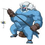 anthro balls clothed clothing erection fishing fishing_rod footwear gloves humanoid_penis looking_at_viewer maldu male nintendo nipples nude obese open_mouth overweight pecs penis pokémon simple_background solo topless video_games walrein