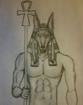 abs anthro anubis athletic clothing deity ear_piercing front_view grey_background looking_at_viewer male muscular pecs piercing simple_background sketch solo source_request suggestive traditional_media_(artwork) unknown_artist  Rating: Questionable Score: 3 User: SwiperTheFox Date: December 10, 2015