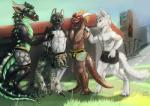 2015 3_toes 4_toes anthro arctic_fox argonian black_scales blue_eyes boxers_(clothing) brown_scales bulge canine claws clothed clothing collar cute day deathclaw digital_media_(artwork) digitigrade dragon fallout feathers fox fur glowing glowing_eyes grass green_eyes green_scales green_stripes grey_scales group hair heterochromia hi_res horn leash lizard male mammal outside pink_eyes reptile rubber sairaks scales scalie scritt shiny standing stripes surprise the_elder_scrolls toe_claws toes topless underwear video_games white_fur white_sclera wolf  Rating: Safe Score: 16 User: Cyrax Date: December 06, 2015