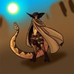 alorix ambiguous_gender anthro clothing digitigrade featureless_crottch long_tail pit_viper poncho rattlesnake reptile scalie snake solo thick_tail viper