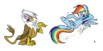 2013 avian blue_feathers blue_fur brown_feathers brown_fur cutie_mark duo equine eye_contact female feral flying friendship_is_magic fur gilda_(mlp) glancojusticar gryphon hair horse mammal multicolored_hair my_little_pony pegasus plain_background pony purple_eyes rainbow_dash_(mlp) rainbow_hair white_background white_feathers wings yellow_eyes   Rating: Safe  Score: 6  User: Granberia  Date: July 29, 2013