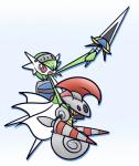 ambiguous_gender anthro arthropod concave_(artist) duo escavalier gardevoir green_hair hair humanoid insect knight mammal melee_weapon nintendo open_mouth pokémon pokémon_(species) red_eyes shield simple_background sword teeth tongue video_games weapon