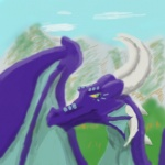 ambiguous_gender dragon feral green_eyes happy istelthedragon membranous_wings mountain outside portrait profile purple_body scalie sky smile solo sunny wings