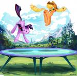 2015 applejack_(mlp) blonde_hair bouncing cloud cowboy_hat cutie_mark duo earth_pony equine eyes_closed female feral freckles friendship_is_magic green_eyes hair hat horn horse jowybean long_hair mammal mountain my_little_pony outside pony smile trampoline twilight_sparkle_(mlp) winged_unicorn wings  Rating: Safe Score: 12 User: 2DUK Date: August 24, 2015