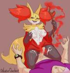 anthro balls blush breast_grab breasts canine clothing cum cum_on_breasts cum_on_leg delphox duo erection female fire fox fur galactic_overlord glans half-closed_eyes hat human inner_ear_fluff interspecies kneeling lying male male/female mammal mega_stone nintendo nipples nude on_top open_mouth penis pokémon pokémon_trainer pussy red_eyes smile stick sweat teeth tongue vein veiny_penis video_games   Rating: Explicit  Score: 10  User: N7  Date: May 04, 2015