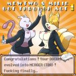 2016 anthro areola big_breasts breasts canine clothed clothing crossgender crossover digital_media_(artwork) duo english_text erect_nipples eyes_closed female fur hair hi_res jacket legendary_pokémon lonbluewolf mammal mewtwo miles_prower multiple_tails navel nintendo nipples open_jacket open_mouth partially_clothed pokémon smile sonic_(series) text tongue uniform video_games  Rating: Questionable Score: 12 User: Annon-Guy Date: January 07, 2016