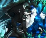 angiewolf anthro black_feathers black_fur black_hair blue_eyes blue_fur blue_hair collar duo feathered_wings feathers fur hair horn hybrid male nude pawpads wingsRating: SafeScore: 3User: MillcoreDate: March 28, 2017
